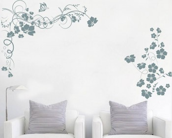 Floral Wines Flowers Butterflies Vinyl Decals Modern Wall Art